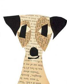 Denise Fiedler collage art - so simple, yet spot-on doggy!