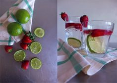 Flavored water: lime and strawberry