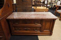 "50"" Antique Carved Walnut Burlwood Granite Chest of Drawers Dresser Victorian #Victorian"