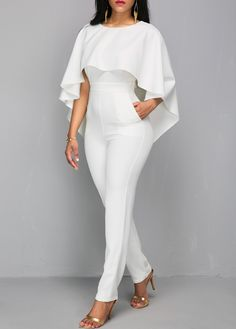 Zipper Closure V Back White Cloak Jumpsuit | Rosewe.com - USD $38.02