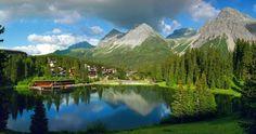 Swiss mountains in summer. Tschuggen Grand Hotel, Arosa, Switzerland @Tschuggen Hotel Group