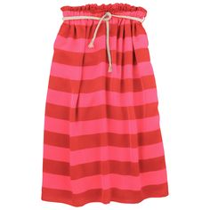 Scotch & Soda: Flowing long skirt made of red and bright pink striped polyester. Synthetic lining. Elasticated waistband. Slit side pockets. Braided string belt.