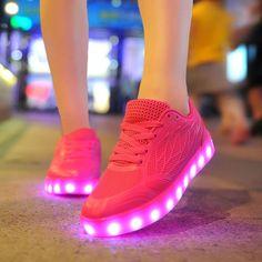 2016 New Led Light Shoes Women Casual Breathable Luminous Tenis Con Luz Schoenen Met Licht Glowing Zapatillas Con Luces Usb Shoe