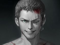 Tags: Anime, Pixiv Id 1417939, ONE PIECE, Roronoa Zoro, Blood On Face, Realistic, Dark Background