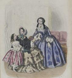 Fashion print with children ca 1855