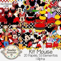 Kit Mouse, Mickey Mouse, Disney, Minnie, Pateta, Pato Donald, Margarida, Pluto, Cachorro, Ratinho, Rato, Sapatos, Luvas, Lacinho, Festa, Menina, Menino, Casa do Mickey, Roupa, Vestido, Bottons, botões, frames, bordas, alphabet, alpha, alfabeto, papéis, papers, elementos, elements, kit digital, digital kit, loop, tie, boy, girl, children, criança, duck, rat, bolinhas, balls, polka dots, party, happy birthday, aniversário, Digital Kit, Kit Digital, Papéis, Papers, Alpha