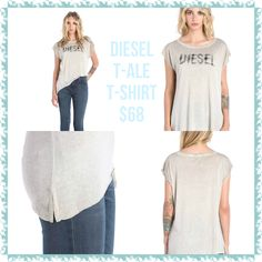 Diesel T-Ale T-shirt: available in colorway as shown in pictures but also a light blue with white writing.. Scoop neck, short sleeves, logo print to chest.  100% Viscose-Rayon Available Size XS-L