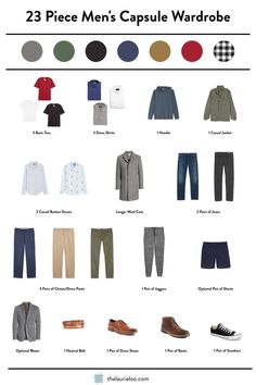 The Ultimate Capsule Wardrobe Guide for Men — The Laurie Loo Trying to get your man to go the capsule wardrobe route? Check out this one that only needs 23 dang Capsule Wardrobe Casual, Mens Wardrobe Essentials, Men's Wardrobe, Herren Outfit, Business Casual Men, Fashion Capsule, Men Style Tips, Casual Outfits, Casual Guy