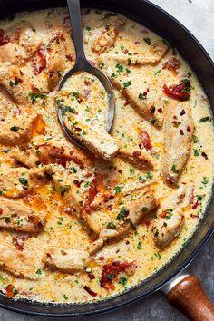 This Creamy Garlic Sun-Dried Tomato Chicken is ready in 20 minutes! Serve over pasta, zucchini noodles or spaghetti squash.