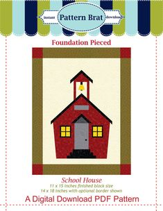 School House Quilt Block Pattern Paper Pieced Pattern Foundation Piece Pattern…