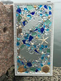 Mosaic Coastal Window mixed media sea glass mosaic Glass Art