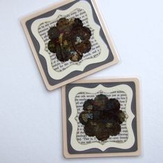 Coaster, Handmade Original Mocha Flower Ink Art - Pack of two £3.00