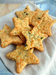 Parmesan Cheddar Basil Bites...a cool star shaped cookie-cutter creates an easy-to-make snack or appetizer.