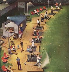The Driving Range, art by John Falter.  Detail from cover of Saturday Evening Post - July 26, 1952
