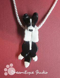 Border Collie Black Hangin' On Artist Hand-made Clay Pendant E1