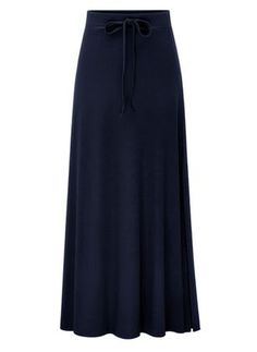 iHAZA Maxi Skirt Women Elastic Waist Solid Pleated Skirt Vintage A-line Loose Long Skirts