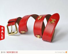 Check out Sale -  Rare MOSCHINO Redwall Red Leather Belt With Gold Hardware / Authentic on mysunnystore