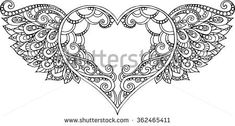 Hand drawn doodle ornate heart with wings illustration. Valentines day outline ornate heart drawing