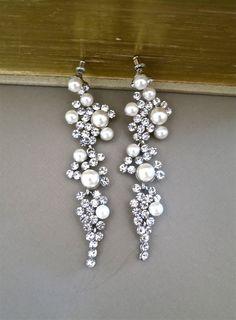 Bridal Chandelier Earrings Rhinestone Ivory by SukranKirtisJewelry, $78.00
