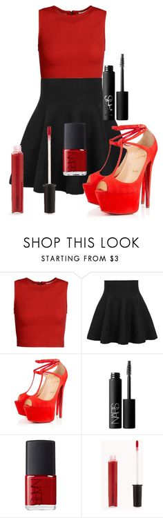 """""""I'm your gift"""" by farahossama ❤ liked on Polyvore featuring Alice + Olivia, Christian Louboutin, NARS Cosmetics and Forever 21"""
