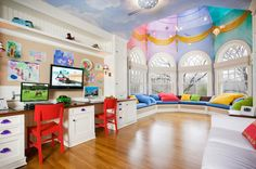 Smart Kids Playroom Ideas For Small Rooms: Luxury Kids Playroom Ideas With Colorful Ceiling Design