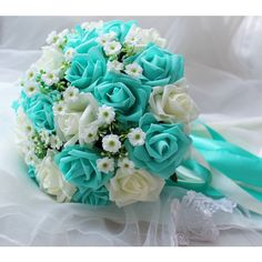 Turquoise Green White Wedding Bouquet, Turquoise Flowers Bridal... ($28) ❤ liked on Polyvore featuring home, home decor, floral decor, silk flowers, fake flower bouquets, silk flower bouquets, artificial flower arrangement and white flower bouquet