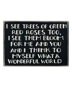 'I See Trees of Green' Box Sign by Primitives by Kathy #zulily #zulilyfinds