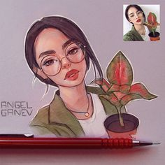 Flowery – Day by AngelGanev on DeviantArt – People Drawing Girl Drawing Sketches, Girly Drawings, Cartoon Drawings, Pencil Art Drawings, Cartoon Kunst, Anime Kunst, Anime Art, Marker Kunst, Marker Art