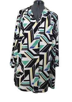 a595c35396034b Worthington Top Plus Size 3X Womens White Stretch Abstract Pull Over  #WorthingtonIndustries #Blouse #