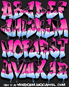 Image of Graffiti Font - Pink Power . - Image of Graffiti Font – Pink Power - Graffiti Designs, Graffiti Alphabet Styles, Graffiti Lettering Alphabet, Tattoo Lettering Fonts, Graffiti Styles, Alphabet Letters, Grafitti Letters, Bubble Letters, Typography