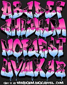 Image of Graffiti Font - Pink Power . - Image of Graffiti Font – Pink Power - Graffiti Text, Graffiti Lettering Alphabet, Graffiti Alphabet Styles, Tattoo Lettering Fonts, Graffiti Tagging, Graffiti Drawing, Graffiti Styles, Street Art Graffiti, Alphabet Letters