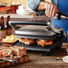 Have the smaller version that only makes 2 at a time...love it but soon going for the larger as my husband always wants 2 so I end up eating alone...Breville Panini Press & Grill #WilliamsSonoma