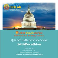 Join Solar Decathlon Affiliate ASES at their 49th Annual National Solar Conference, SOLAR 20/20: Renewable Energy Vision, June 23-26, 2020 at George Washington University in Washington, D.C. The conference is happening in conjunction with the U.S. Department of Energy's #SolarDecathlonBuild Challenge and will feature a Solar Decathlete student panel! Register today and learn more at ases.org/conference.