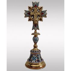 Altar Cross enameled gold plated Altar, Blessing, Decorative Bells, Silver Plate, Plating, Enamel, Table Lamp, Gold, Home Decor