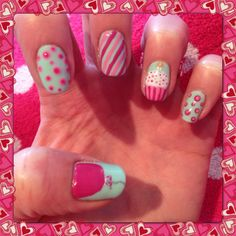 Cupcakes, balloons, spots and stripes nail art 21st Birthday Nails, Birthday Nail Art, Birthday Nail Designs, Birthday Ideas, Happy Birthday, Little Girl Nails, Girls Nails, Pink Nails, Girls Nail Designs
