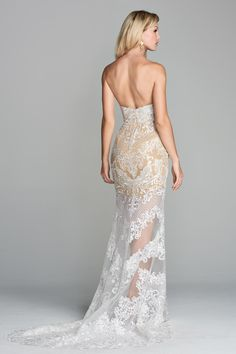 Now available in our Yuba City store! {BOOK NOW} Detailed Zoyra Lace transforms this classic silhouette into a mesmerizing strapless sheath. Also available with floor length lining Beautiful Wedding Gowns, Elegant Wedding Dress, Designer Wedding Dresses, Bridal Outfits, Bridal Dresses, Taupe Wedding, Bridal Style, Bride, Yuba City