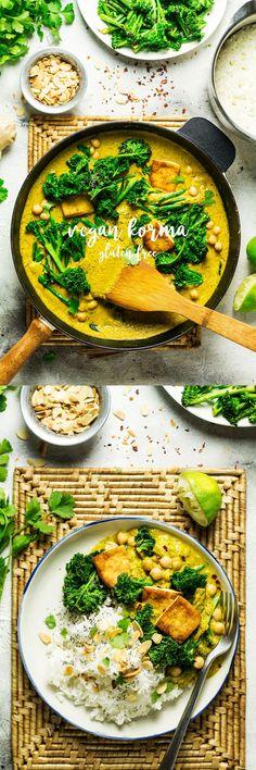 Vegan tofu korma with greens - Lazy Cat Kitchen Veggie Recipes, Indian Food Recipes, Whole Food Recipes, Cooking Recipes, Dinner Recipes, Healthy Recipes, Healthy Meals, Yummy Veggie, Tilapia Recipes