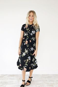 Black Midi  Floral Print  1/4 Sleeves  Rounded Neckline  Babydoll Waist  Loose Fit