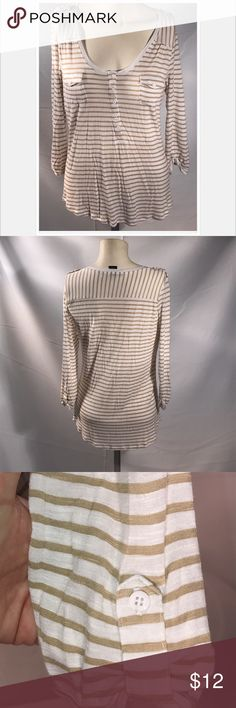 Beige & White Striped 3/4 Sleeve Striped 89th & Madison 3/4 sleeve top.  White buttons on front, sleeves and shoulder.  Cream & white colors.  Great condition. 89th & Madison Tops