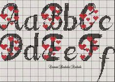 Mono 1 Crochet Alphabet, Cross Stitch Alphabet Patterns, Cross Stitch Letters, Cross Stitch Heart, Cross Stitch Designs, Stitch Patterns, Cross Stitching, Cross Stitch Embroidery, Letras Abcd