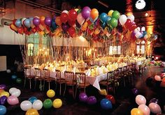 Use a high number of balloons tied to chairs for a dramatic look. birthday parties, color, balloon party, dinner parties, balloon decorations, surprise parties, rainbow wedding, parti idea, surprise birthday