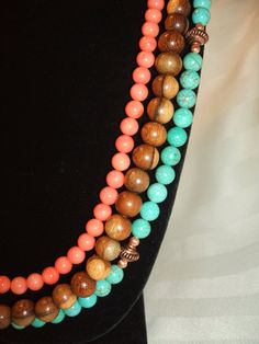 coral, turquoise & wood necklace