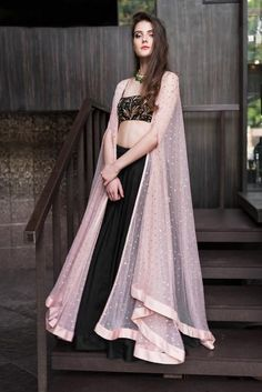 Pink Cape Jacket With Black Top & Skirt