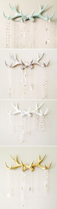 Antler Hangers - in mint, silver, white, and gold! You can hang ornaments and holiday items from them too!