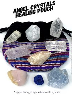 Angel Crystals Healing Pouch Angelic Energy High Vibrational Crystals | CrystalHealing4Women Crystals For Sale, Stones And Crystals, Opposite Colors, Medicine Bag, Pink Opal, Clear Quartz, Crystal Healing, Are You The One, Pouch