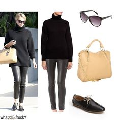 "What the Frock? - Affordable Fashion Tips, Celebrity Looks for Less: Celebrity Look for Less: Charlize Theron Style. kind of too ""all black"" for me but I like the contrast in textures."