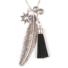 "Feather Tassel Necklace✨3 available✨ Beautiful zinc alloy silver toned necklace. Black suede tassel and clear crystal balls. Chain is about 28"" and I would say the feather charm is about 3 1/2"". This is big and pretty! New in package. Jewelry Necklaces"