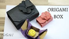 Origami Gift Box, Origami Boxes, Gift Wrapping Paper, Wrapping Ideas, Origami Box Tutorial, Creative Activities, Flower Making, Cool Gifts, Fun Crafts