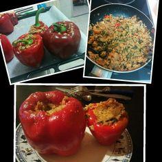 My homemade stuffed capsicums with #guinoa #spinach #tuna #mozzarella  #Healthy eating #bbggirls