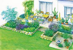 Mediterraner Garten Mit Kalksteinmauer